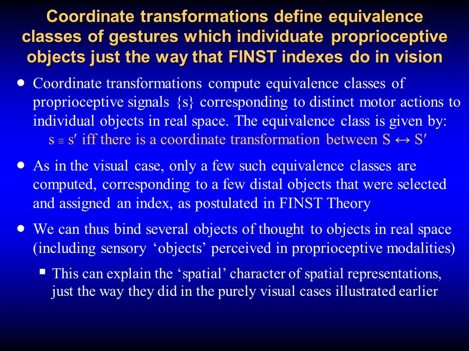 Coordinate transformations define equivalence classes of gestures which individuate proprioceptive objects just the way that FINST indexes do in vision