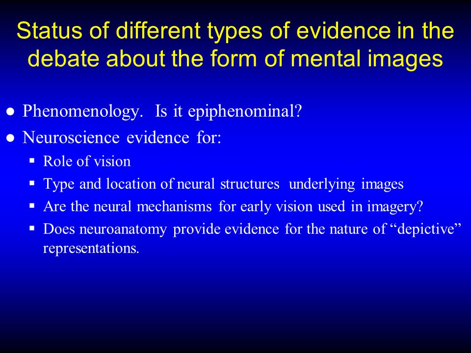 Status of different types of evidence in the debate about the form of mental images
