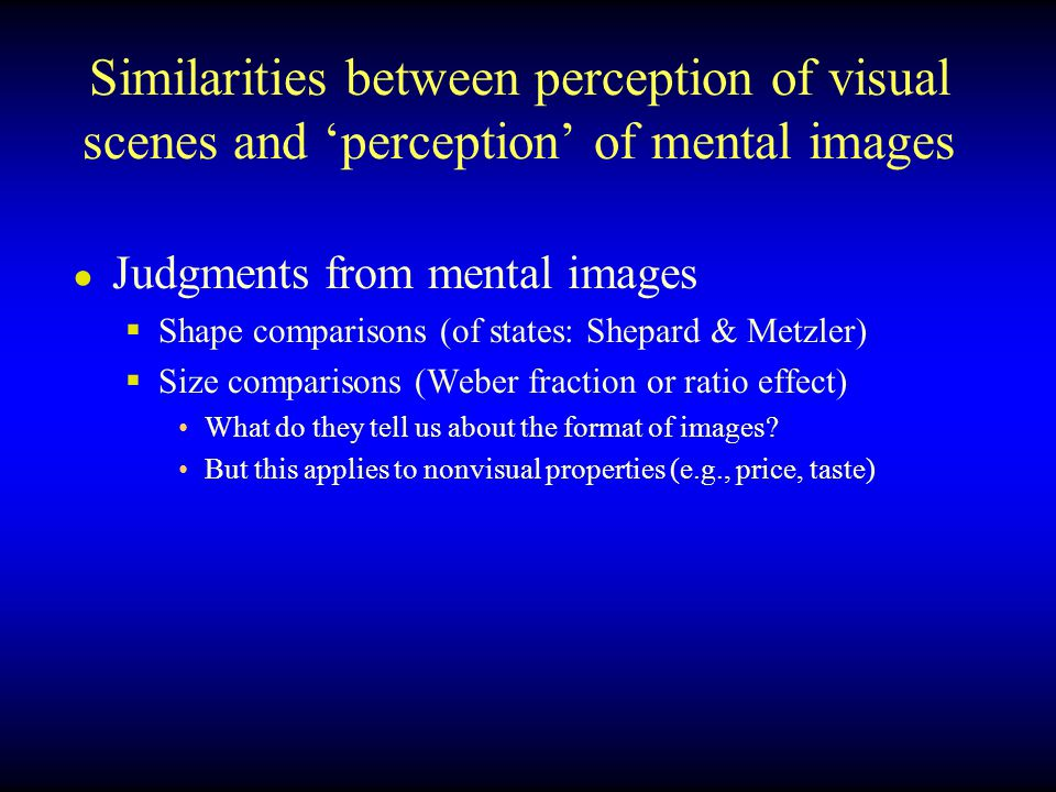 Similarities between perception of visual scenes and 'perception' of mental images