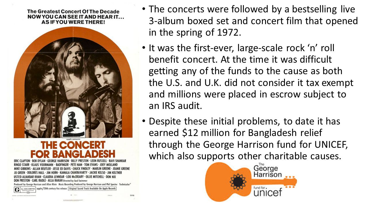 The concerts were followed by a bestselling live 3-album boxed set and concert film that opened in the spring of 1972.