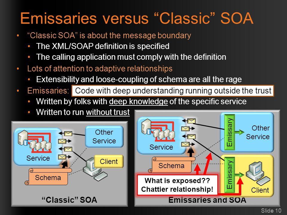 Emissaries versus Classic SOA