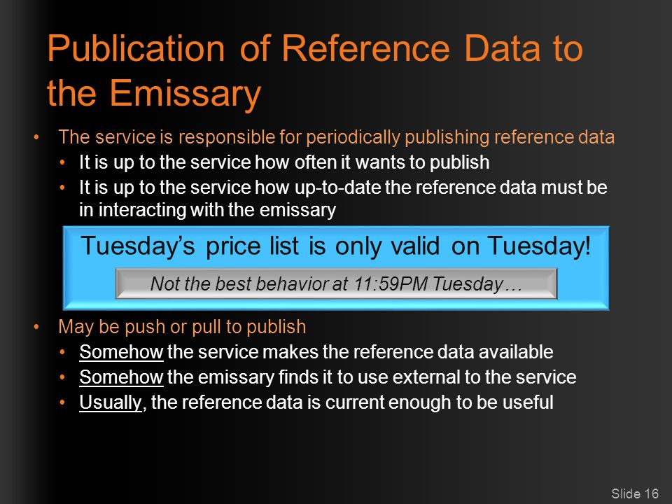 Publication of Reference Data to the Emissary