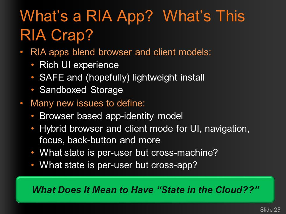 What's a RIA App What's This RIA Crap