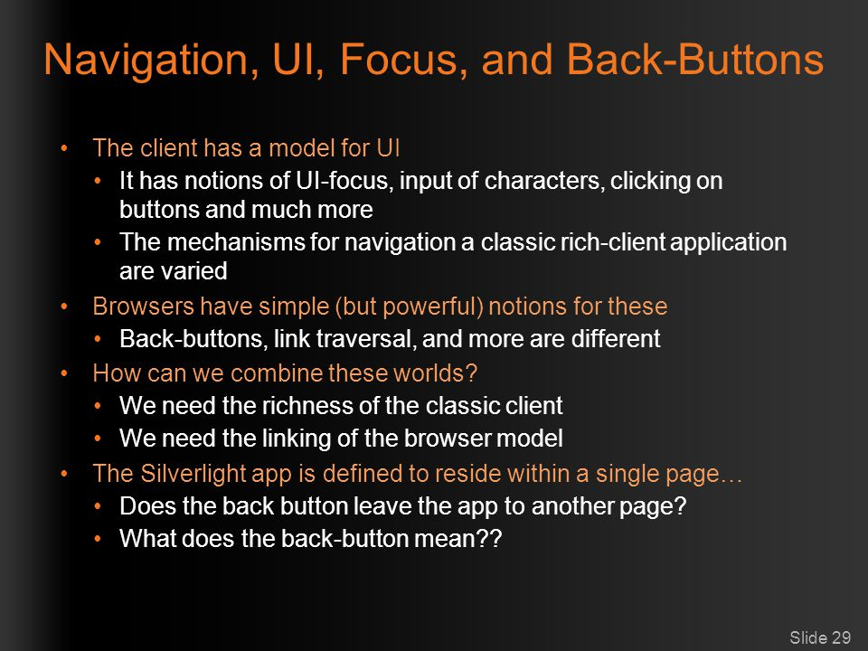 Navigation, UI, Focus, and Back-Buttons
