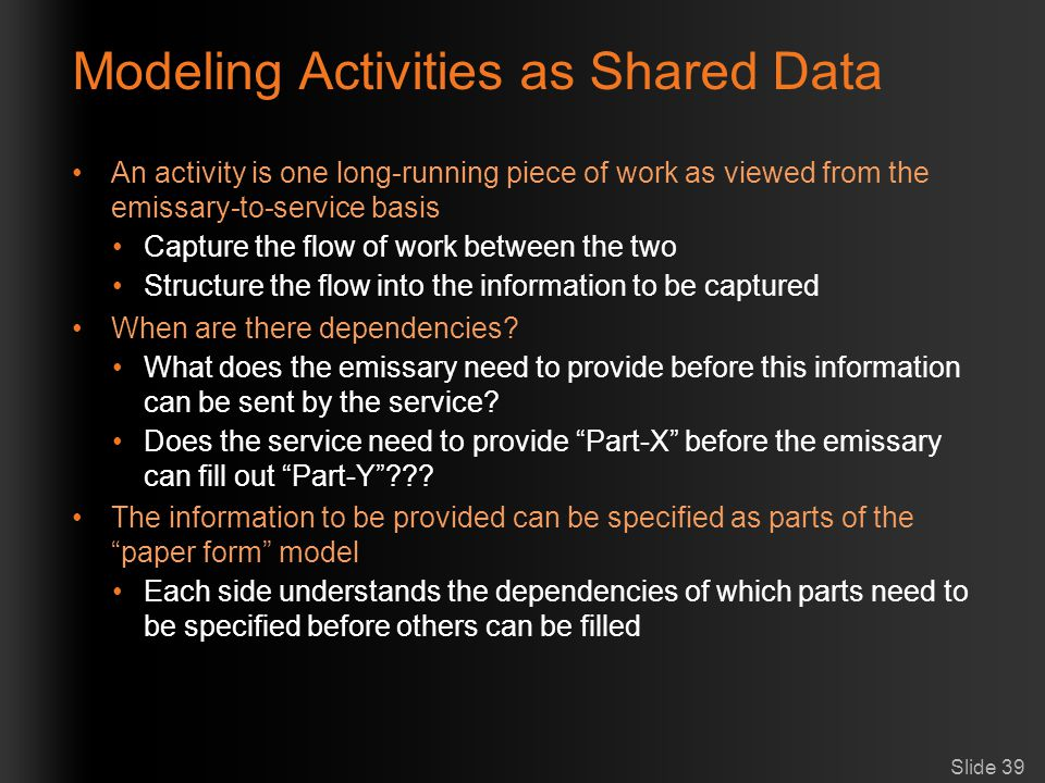 Modeling Activities as Shared Data