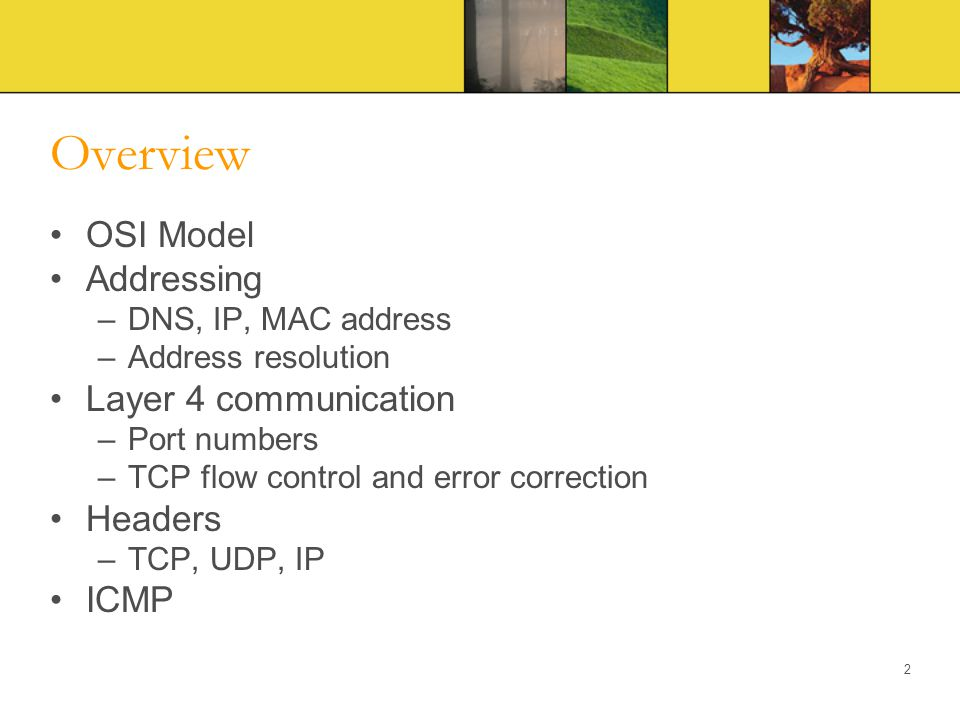 Overview OSI Model Addressing Layer 4 communication Headers ICMP