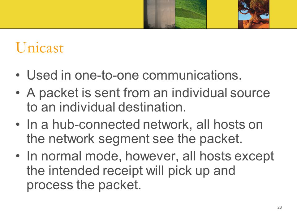 Unicast Used in one-to-one communications.