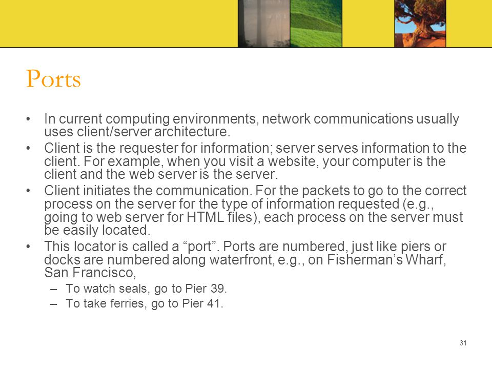 Ports In current computing environments, network communications usually uses client/server architecture.