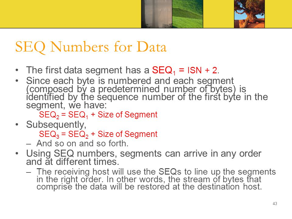 SEQ Numbers for Data The first data segment has a SEQ1 = ISN + 2.