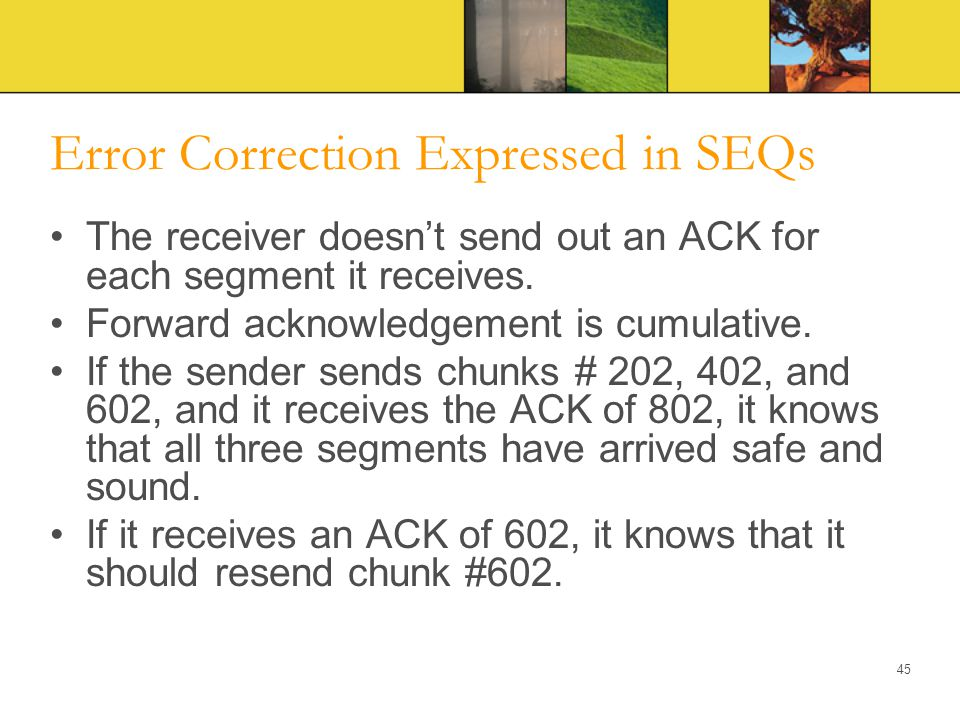 Error Correction Expressed in SEQs