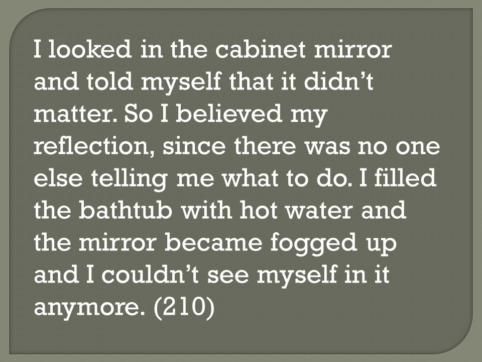 I looked in the cabinet mirror and told myself that it didn't matter