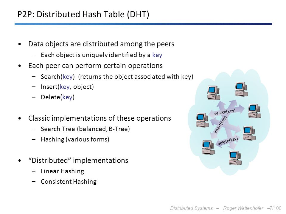P2P: Distributed Hash Table (DHT)