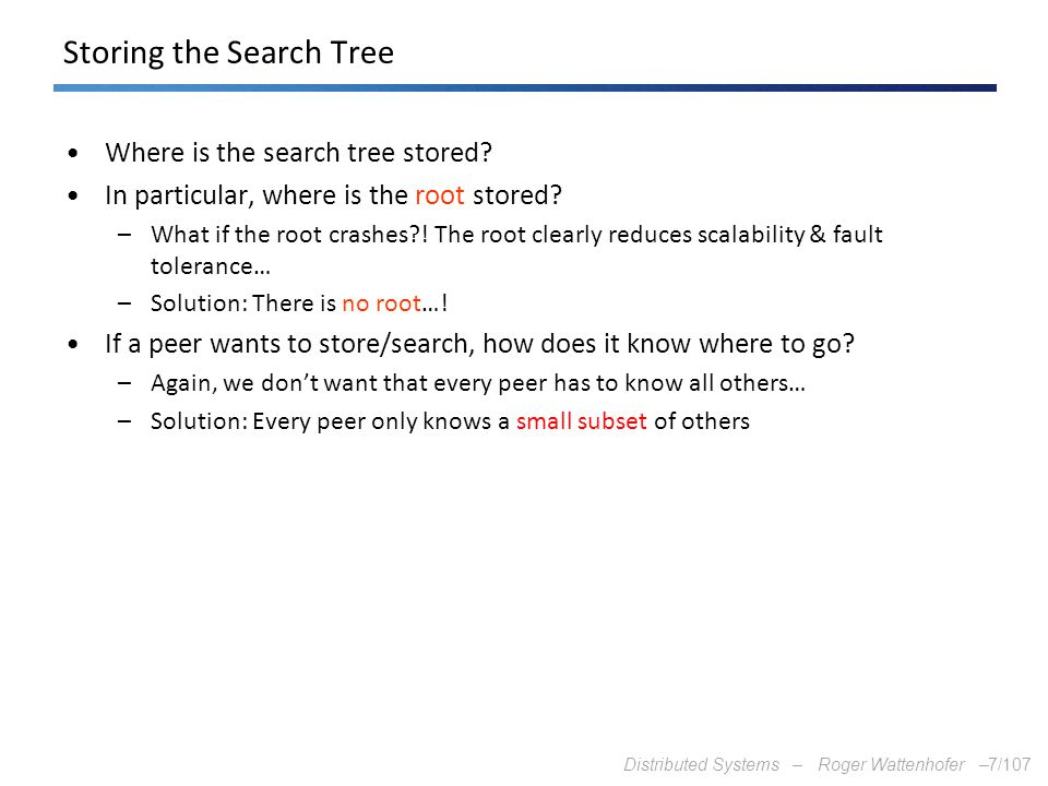 Storing the Search Tree