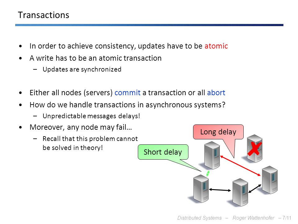 Transactions In order to achieve consistency, updates have to be atomic. A write has to be an atomic transaction.