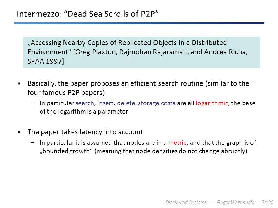 Intermezzo: Dead Sea Scrolls of P2P