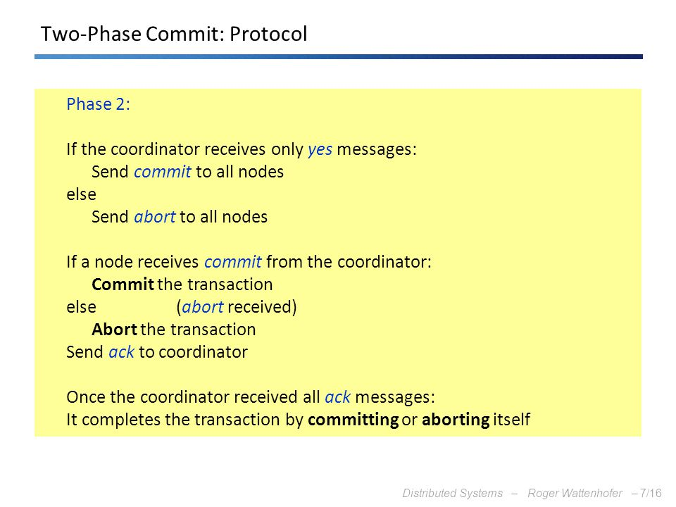 Two-Phase Commit: Protocol
