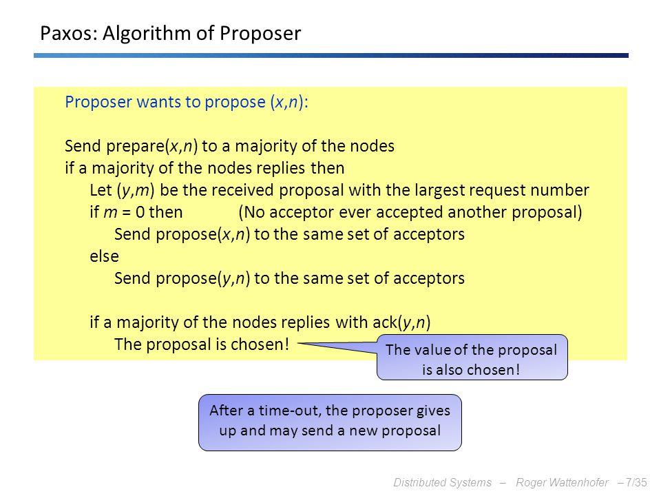 Paxos: Algorithm of Proposer