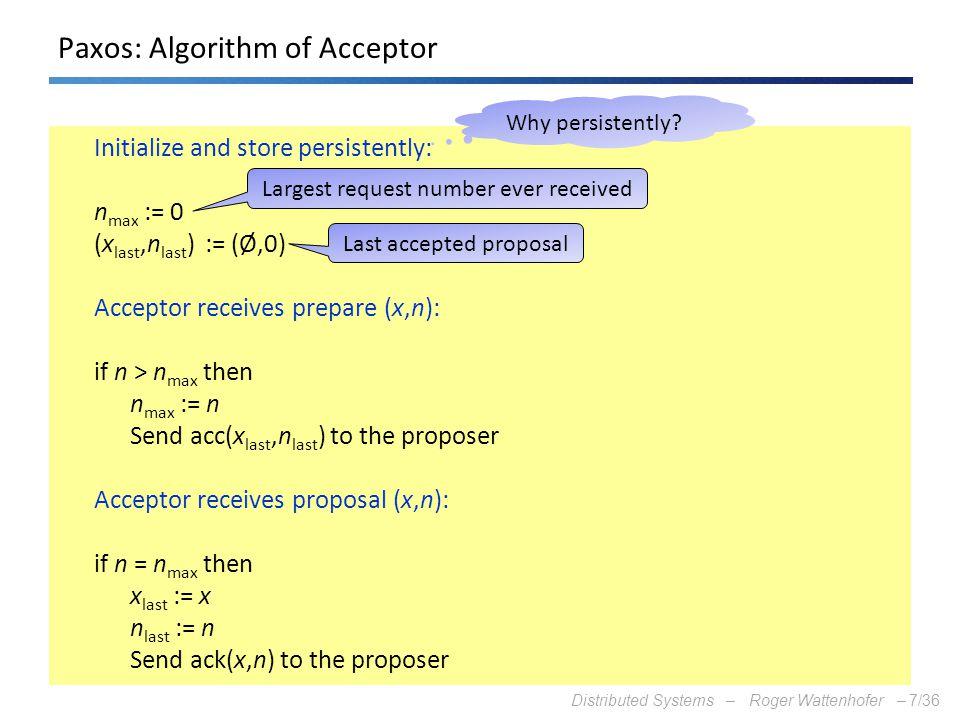 Paxos: Algorithm of Acceptor