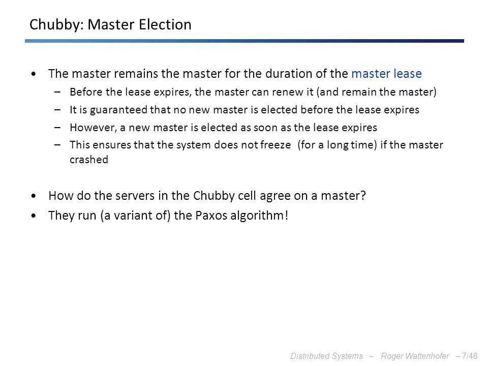 Chubby: Master Election