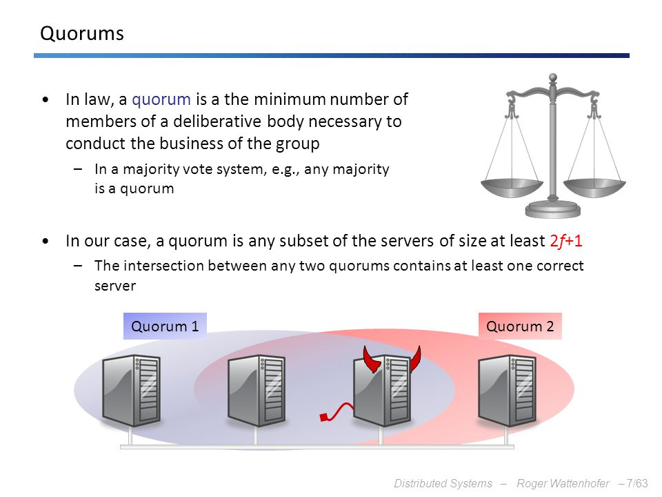 Quorums In law, a quorum is a the minimum number of members of a deliberative body necessary to conduct the business of the group.