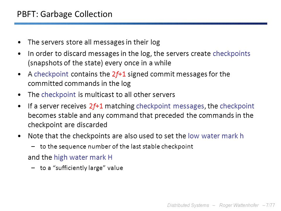 PBFT: Garbage Collection