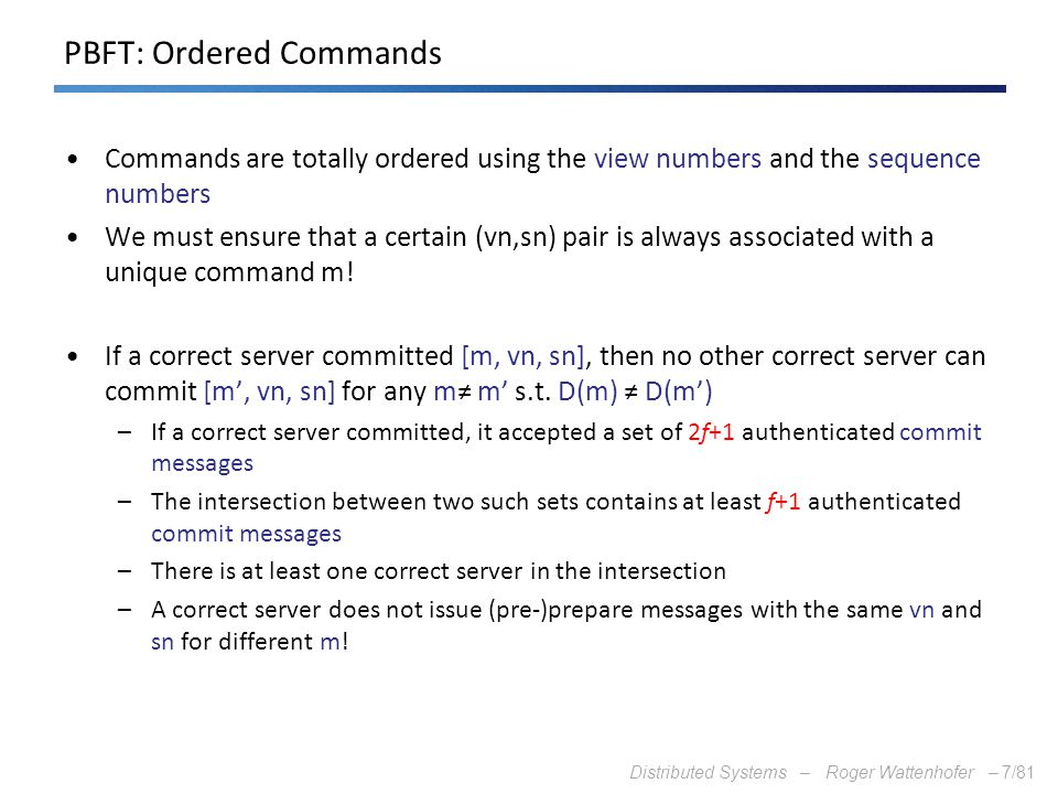 PBFT: Ordered Commands