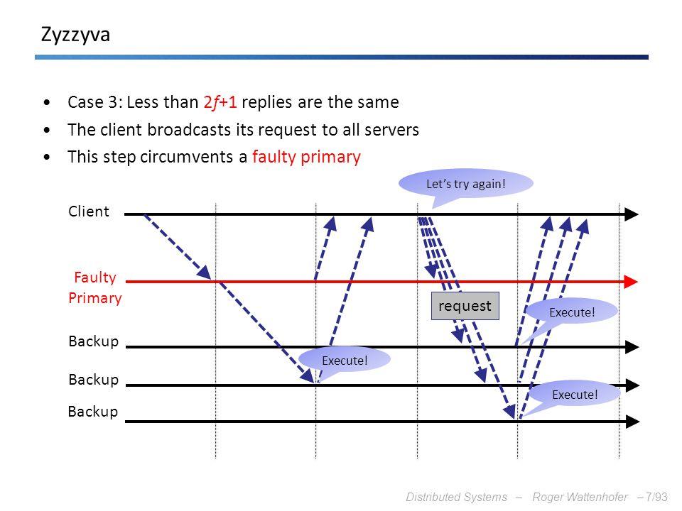 Zyzzyva Case 3: Less than 2f+1 replies are the same