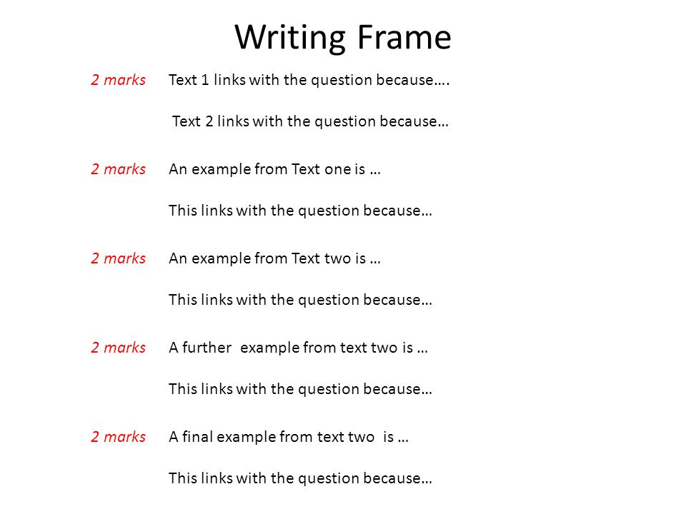 Writing Frame 2 marks Text 1 links with the question because….