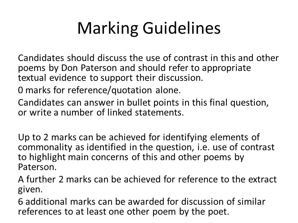 Marking Guidelines