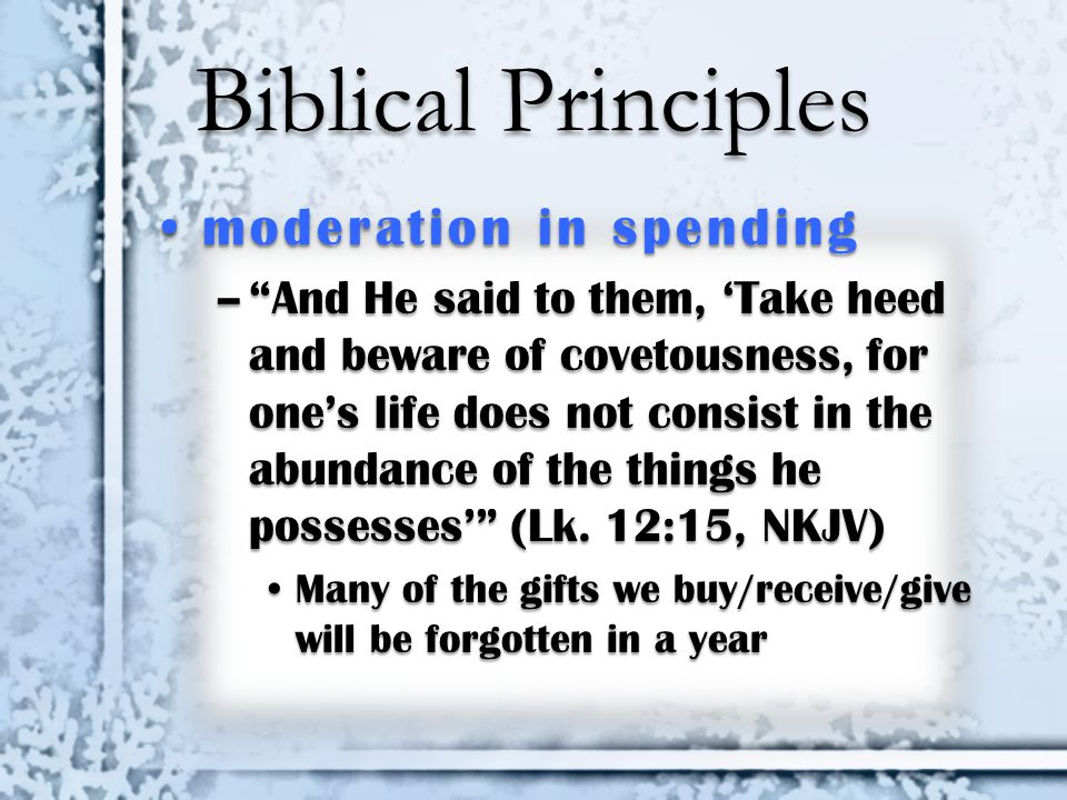 Biblical Principles moderation in spending