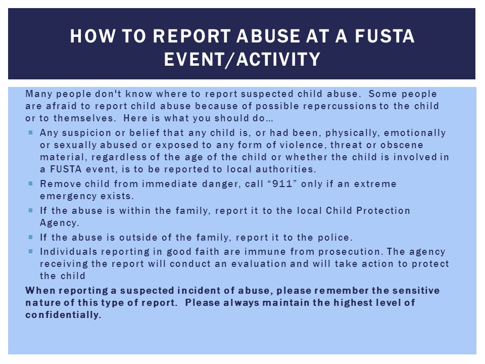 How to Report Abuse at a FUSTA Event/Activity