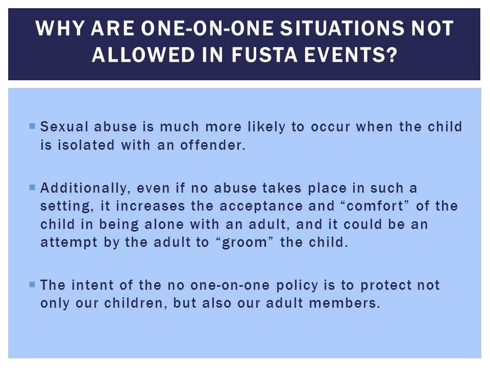 Why are one-on-one situations not allowed in FUSTA events