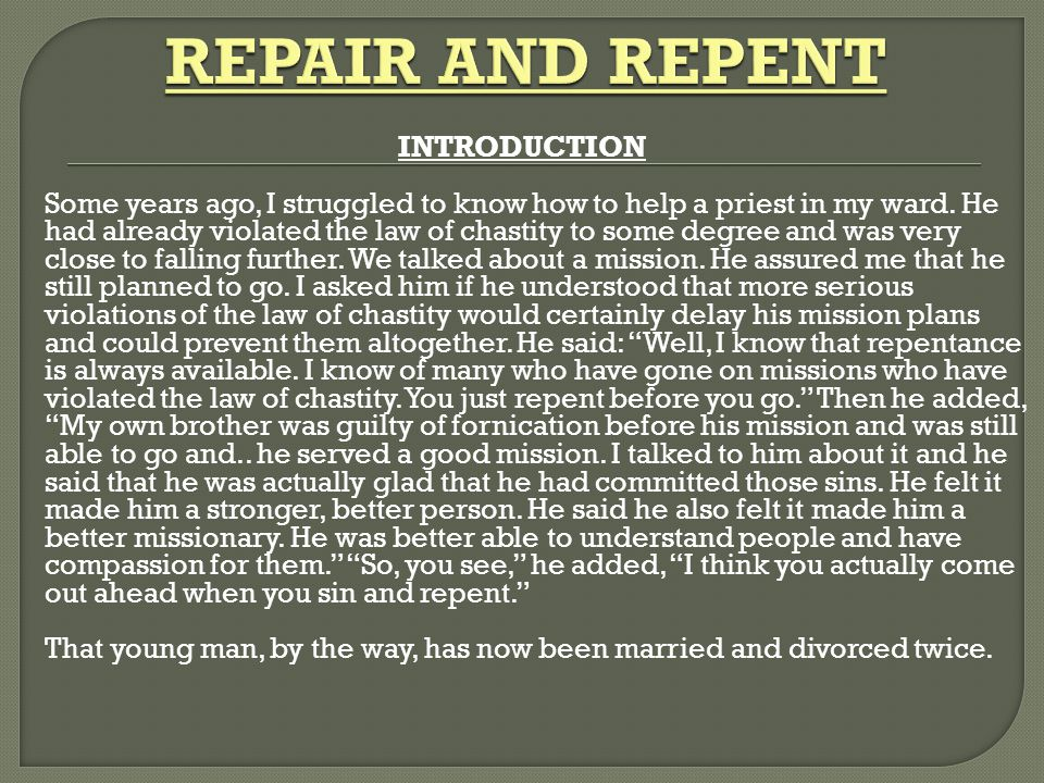 REPAIR AND REPENT