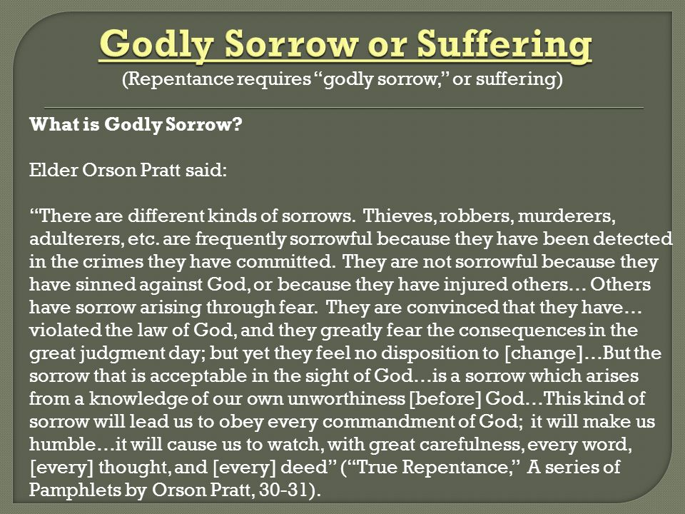 Godly Sorrow or Suffering