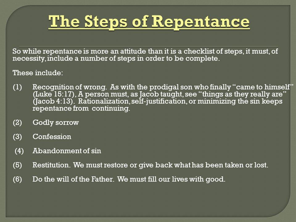 The Steps of Repentance