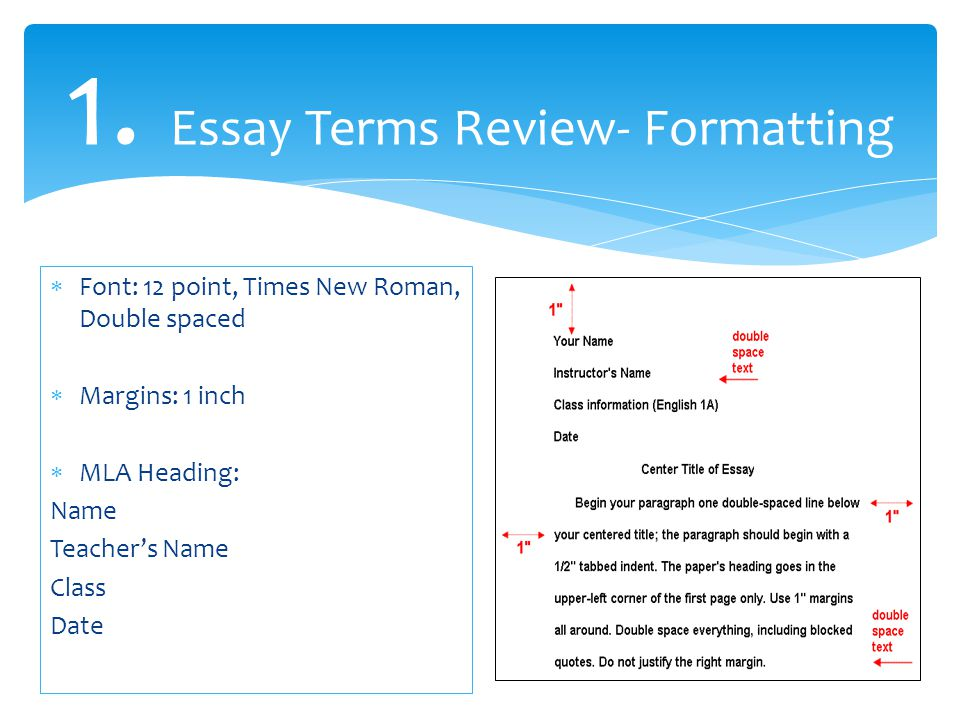 1. Essay Terms Review- Formatting