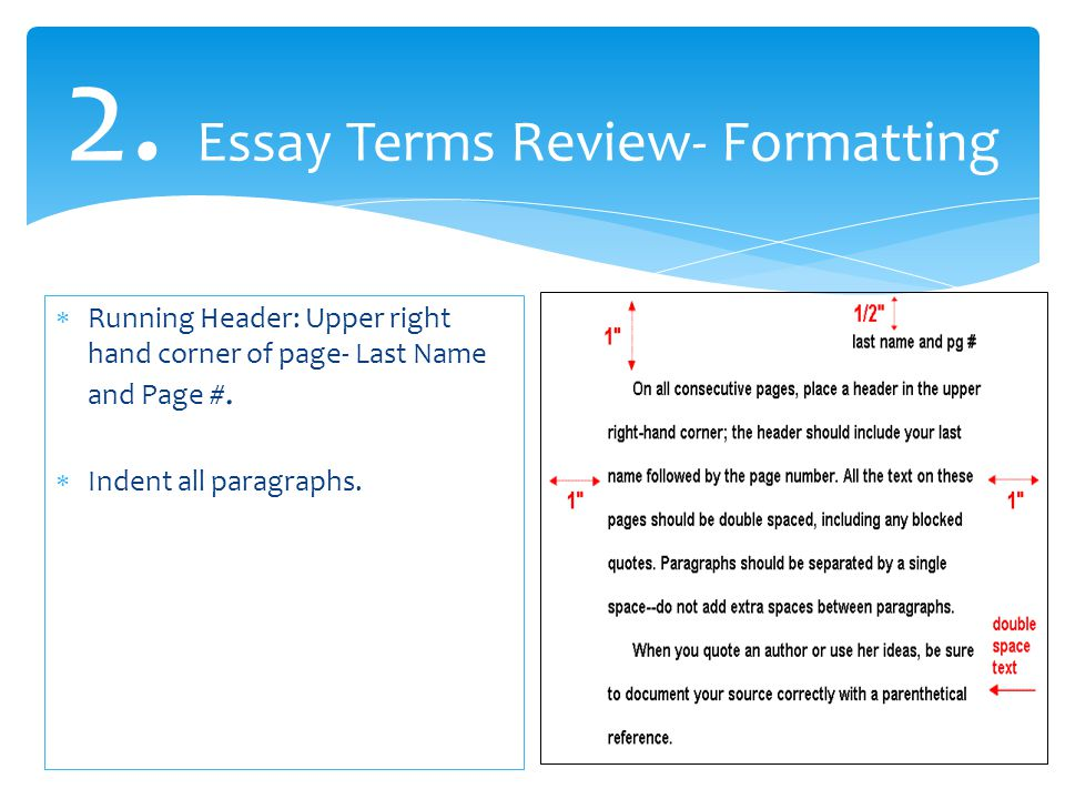 2. Essay Terms Review- Formatting