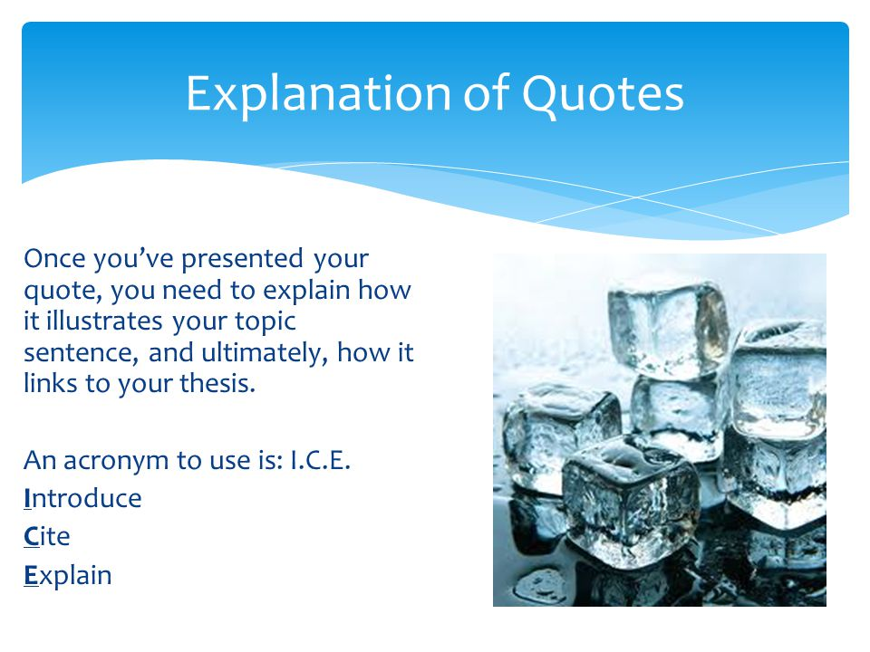 Explanation of Quotes
