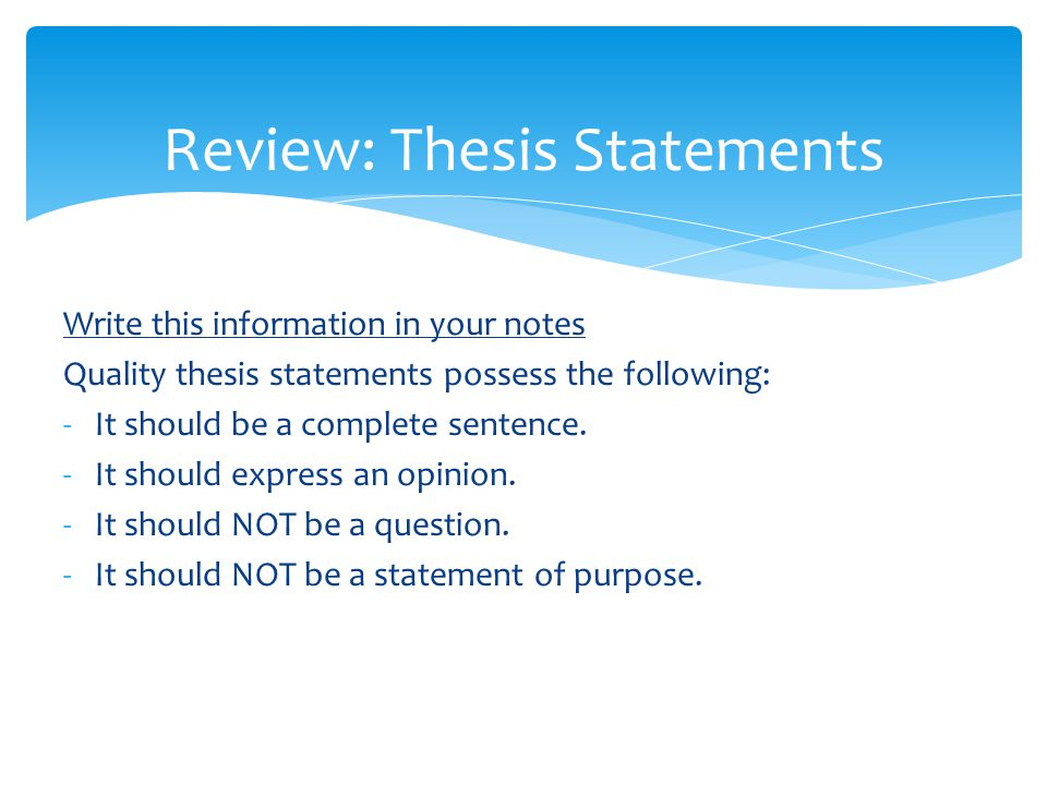 Review: Thesis Statements