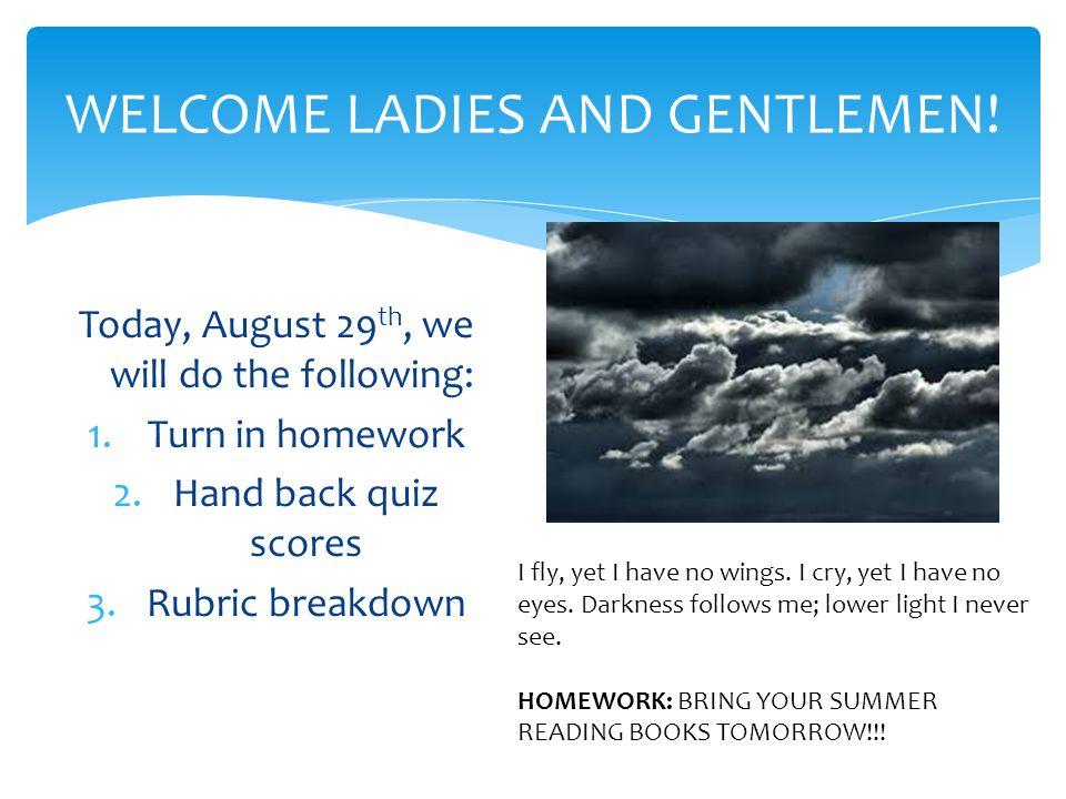 WELCOME LADIES AND GENTLEMEN!
