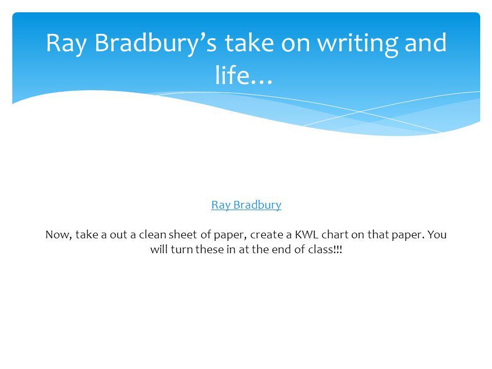 Ray Bradbury's take on writing and life…