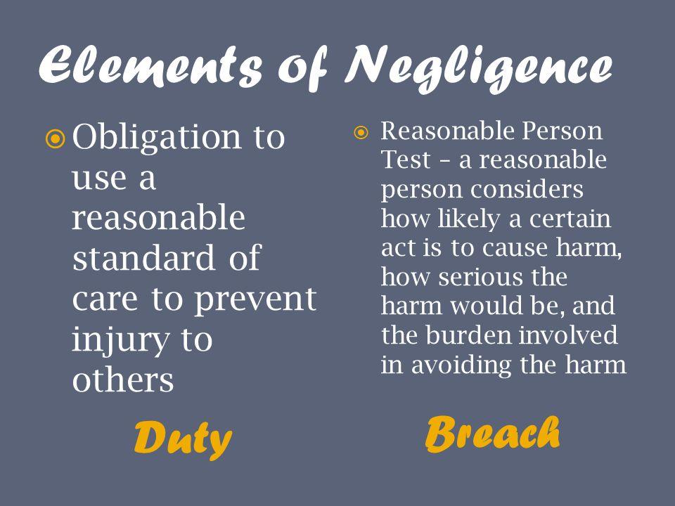 Elements of Negligence