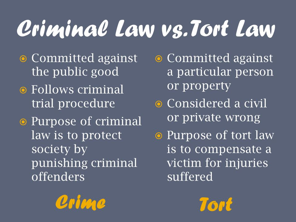law of tort Tort law is predominantly classified into the following three categories: intentional torts, strict liability torts and negligent torts those torts that arise out of negligence encompass a civil wrong precipitated by a negligent action or a failure to practice due diligence.