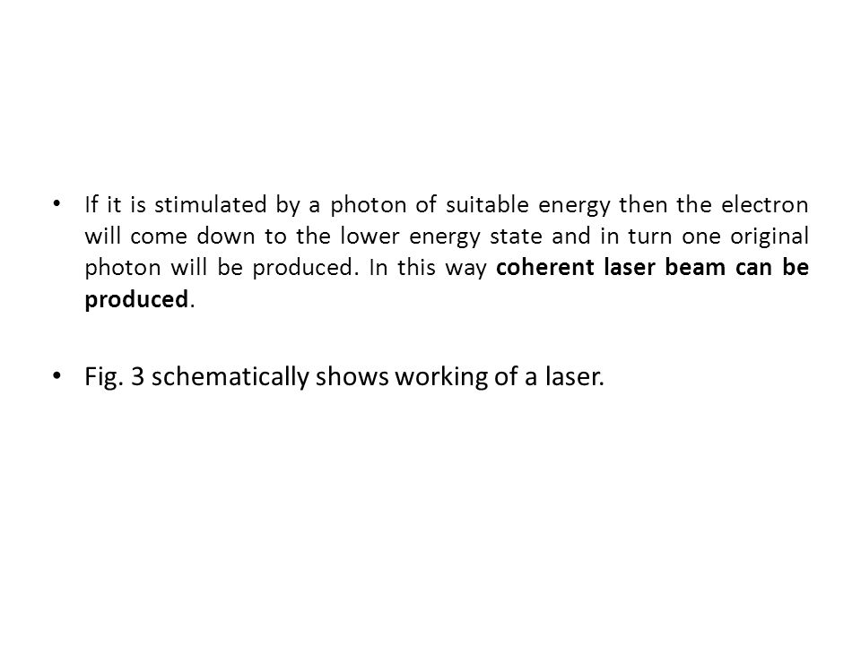 Fig. 3 schematically shows working of a laser.