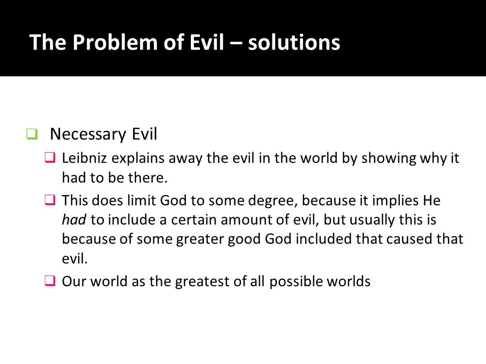The Problem of Evil – solutions