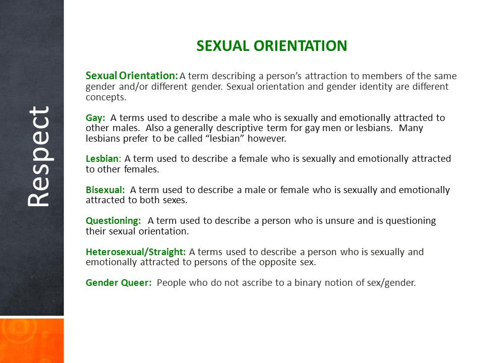 Respect SEXUAL ORIENTATION