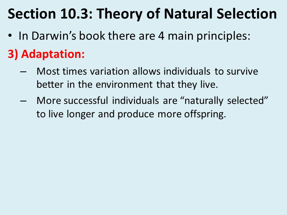 Section 10.3: Theory of Natural Selection
