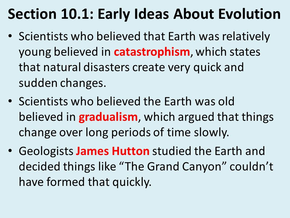 Section 10.1: Early Ideas About Evolution