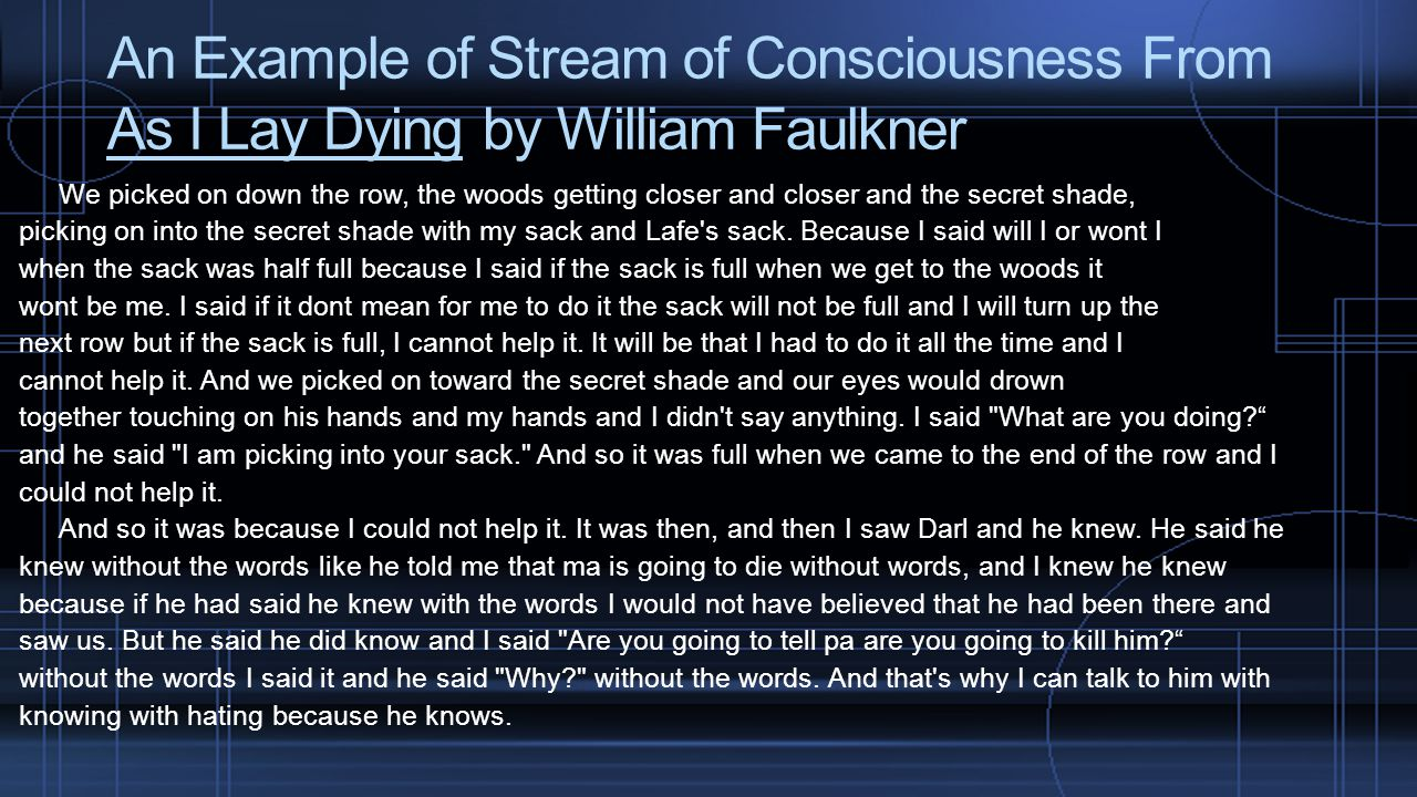 An Example of Stream of Consciousness From As I Lay Dying by William Faulkner