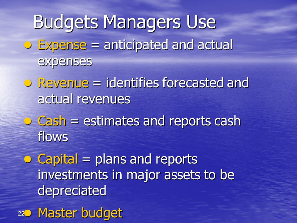 Budgets Managers Use Expense = anticipated and actual expenses